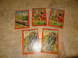 LOT OF 5 VINTAGE CARDBOARD PUZZLE CARDS **PETER PAN & OTHERS** JAPAN!!!!