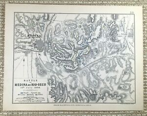 1855 Antique Military Map of The Battle of Medina De Rio Seco 1808 French Army