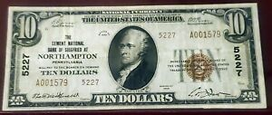 1929 $10 CEMENT NATIONAL BANK OF SIEGFRIED NORTHAMPTON, PA ~ FROM THE LAST SHEET