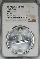 2019 NGC Serbia 1oz Silver Coin 100 Dinar Nikola Tesla Remote Control Round MS69