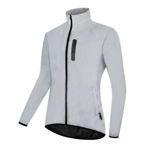 Mens Cycling Jacket Rain Coat High Visibility Windbreaker Reflective Waterproof