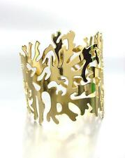 CHIC & UNIQUE Gold Plated Coral Motif Metal Cuff Bracelet