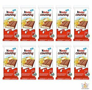 10 x Chocolate Bars KINDER COUNTRY Puffy Rice & Rich Milk Filling 24g 0.85oz