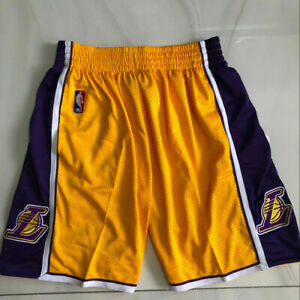 NEW Los Angeles Lakers Men's with Pockets Yellow Basketball Shorts Size: S-XXL
