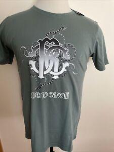 ROBERTO CAVALLI NEW MEN'S Cotton Military Green T-SHIRT SIZE L