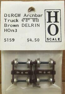 """Grandt Line 5159 HOn3 D&RGW 4' 8"""" Arch-Bar Freight Car Trucks (2) BROWN NOS"""