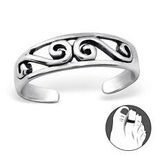 Tjs 925 Sterling Silver Toe Ring Curl Swirl Wave Adjustable Jewellery Oxidised