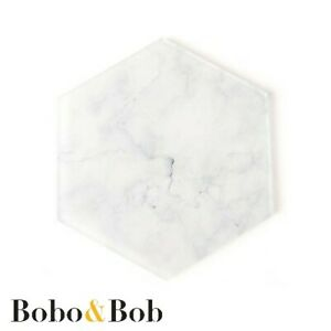 Hexagon White Marble Effect - Acrylic Coaster - Home - Bar - Cafe - Individual