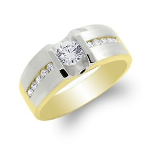 JamesJenny Men10K/14K Two Tone Gold Wedding Solitaire Band CZ Ring Size 7-12