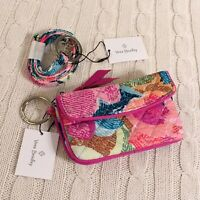 Vera Bradley Iconic Jen Zip ID Case and Lanyard Superbloom Pink NWT MSRP $38