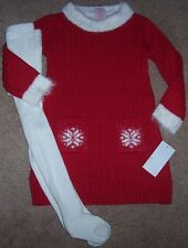 NWT Camilla Red/Ivory FURRY TRIM Sweater Dress/Tights Set 4 Girls SNOWFLAKES