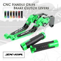 Folding Brake Clutch Levers & Handle Grips for KAWASAKI NINJA ZX10R RR KRT 16-19