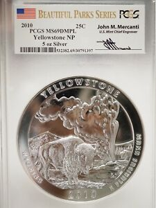 2010 PCGS MS69 DMPL  Yellowstone 5 OZ .999 SILVER Coin Mercanti Signed
