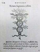 Marguerite de France 1557 Olivier Serpent Duchesse de Berry Gravure sur Bois
