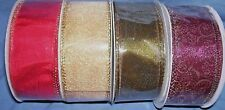 """4 bolts  assorted wire edged ribbon 1 1/2"""" rich fall colors"""