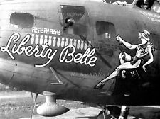 "Nose Art Poster Print: 24"" x 30"" Borderless: Liberty Belle, B-17 Bomber, WWII"