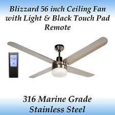 "Blizzard 56"" Stainless Steel Ceiling Fan with Light and Black Touch Pad Remote"
