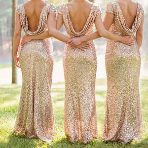 Sequin Backless Bodycon Formal Party Pageant Prom Gown Women's Bridesmaid Dress