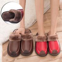 Men's Warm Home Slipper Winter Leather Indoor Flats Plush Non-slip Slipper Shoes