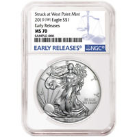 2019 (W) $1 American Silver Eagle NGC MS70 Blue ER Label