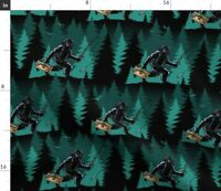 Forest Trees Animals Fishing Yeti Bigfoot Spoonflower Fabric by the Yard
