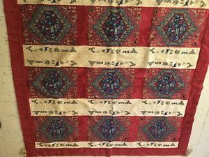 """Unique 100% Handwoven Tapestry Aztec Animals Tablecloth Red Approx 60 X 62"""""""
