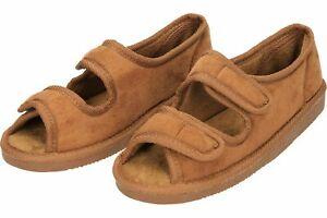 open toe brown slippers ladies swollen feet house shoe hook loop wide fit uk 4-7