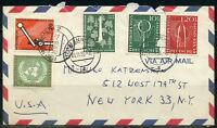 GERMANY COMMERCIAL COVER MANNHEIM 20.11.55 TO NEW  YORK ONE STAMP IS DAMAGED