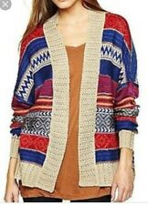 Buffalo Navajo Print Cardigan Sweater Small Medium S M Tribal Shawl Collar