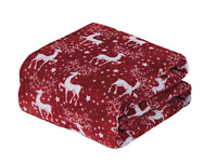 Ultra Cozy & Soft Christmas Holiday Red Reindeer Plush Warm Throw Blanket 50x60