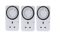 3 x 24 HOUR 24HR MAINS PLUG IN TIMER SWITCH TIME CLOCK SOCKET UK 3 PIN LIGHTS