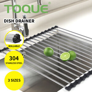 TOQUE Dish Rack Drying Drainer Over Sink Stainless Steel Rack Roll Up Foldable