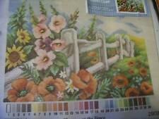 Orchidea Flowers At the Fence Needlepoint Canvas 15.75 x 12 Inches