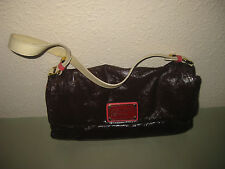 AUTHENTIC MARC BY MARC JACOBS MAROON PATENT LEATHER RECTANGLE HANDBAG PURSE BAG