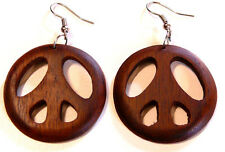 BOUCLES D'OREILLES BOIS ETHNIQUE BIJOUX WOODEN EARRINGS WOOD Peace and Love