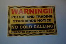 2 x NO COLD CALLERS SECURITY  STICKERS HOME SECURITY  POLICE ALARM  WINDOW
