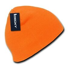 Neon Orange Knit Short Beanie Hat Skull Snowboard Winter Warm Ski Hats Beanies