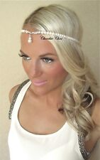 Ivory Pearl Silver Diamond Diamante Jewel Dangle Tear Drop Tiara Hair Head Band