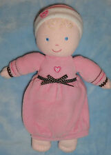 Carters Pink Brown Baby First Doll Rattle Night Gown Heart Hat Blond Blue Eyes