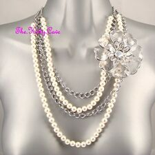 Big Bold Chic Multi-Strand Pearl Silver Floral Flower Corsage Vintage Necklace