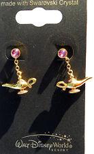 Disney park arribas bros swarovski aladdins genie lamp golden crystal earrings