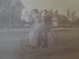 Antique  CABINET PHOTO  -  COUPLE on UNUSUAL HIGH WHEEL BICYCLE   #30
