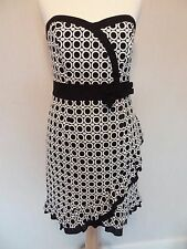 Red Herring Ladies Black White Wiggle Dress - Cocktail/Races/Cruise/Party, Sz 10
