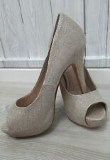Gold Metallic High Heels UK 5 Peep Toe Stiletto OCCASION Glitter Party Shoes
