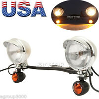 Motorcycle Passing Driving Turn Signals Spot Fog Light Bar for Harley Touring US