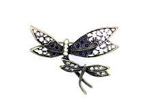 vintage due cristallo bronzo libellule spilla per borsa