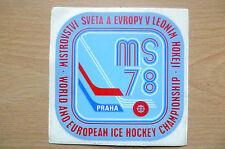 Pegatina-Campeonato mundial & europeo de hockey sobre hielo-MS 78 Praha (apx.11x11 Cm)