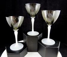 """H C FRY SMOKEY WHEAT ETCHED SET OF 3 OPALESCENT STEMS 5 3/8"""" WINE GLASSES"""