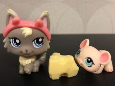 Authentic Littlest Pet Shop #1411 Gray persian cat devil #1412 Pink mouse
