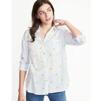 Old Navy Banana Print Button Down Blouse Shirt Pale Blue Yellow 100% Cotton Sz M